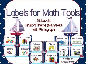 Labels for Math Tools: 52 Labels with Photographs {Nautical Navy/Red Theme}