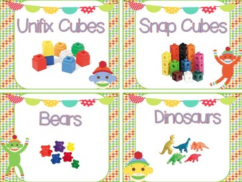 Labels for Math Tools: 52 Labels with Photographs {Sock Monkeys Theme}