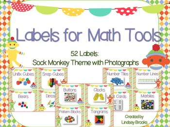Labels for Math Tools: 52 Labels with Photographs {Sock Mo