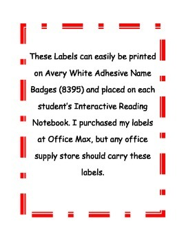 Labels for Reading Notebook
