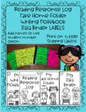 Labels for Reading Response Logs, Data Binders, Take Home Folders, Writing...