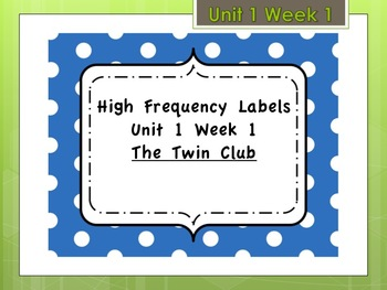 Labels for Reading Street Unit 1 Week 1 High Frequency Words