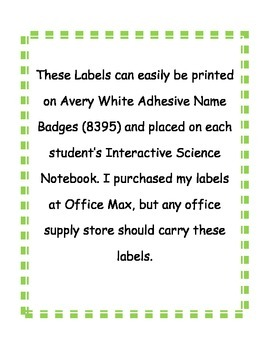Labels for Science Notebooks