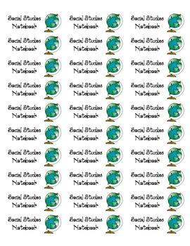 Labels for Social Studies Notebook