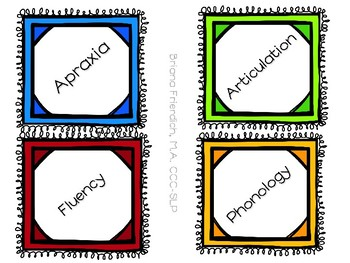 Labels for Speech and Language Therapy Room: Freebie