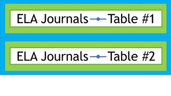 Labels for Student Journals Storage - By Subject - Narrow - Lime & Teal