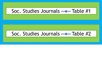 Student Journals Storage Labels - By Subject - Narrow - Lime & Teal
