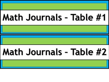 Labels for Student Journals Storage - By Subject - Narrow V.2 - Lime & Teal