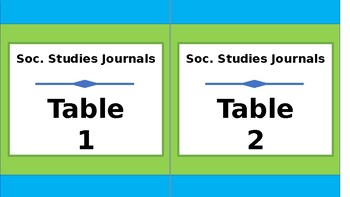 Student Journals Storage Labels - By Subject - Tall - Lime & Teal