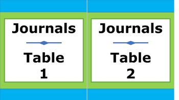 Journals Storage Labels - Lime & Teal
