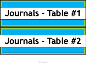 Labels for Student Journals Storage - Narrow V. 2 - Lime & Teal