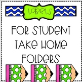 Labels for Student Take Home Folders