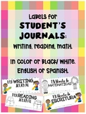 Labels for Student's Journals