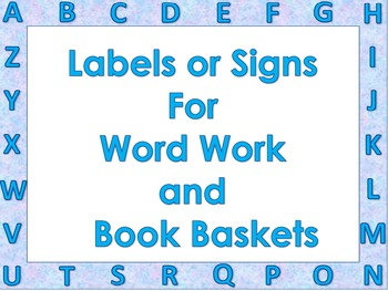 Labels for Word Work and Reading Library with Alphabet Border-Blue