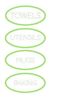 Labels for a Classroom Kitchen