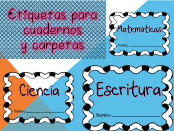 Labels for notebooks or folders (Spanish)