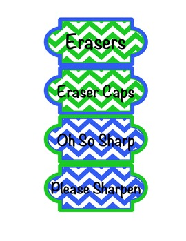 Labels for pencils and erasers.