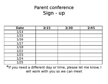 Parent Conference Sign Up