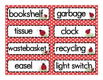 Labels for the Classroom: Ladybug Theme