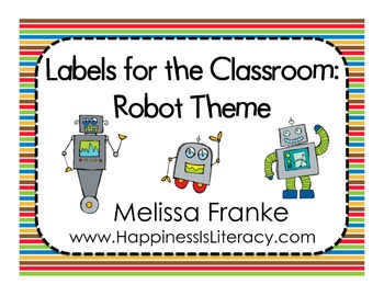 Labels for the Classroom: Robot Theme