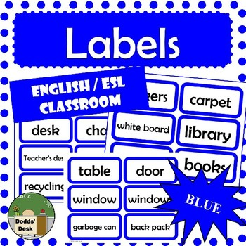 Labels for the English / ESL Classroom (Blue)