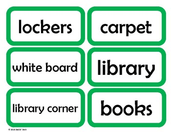 Labels for the English / ESL Classroom (Green)