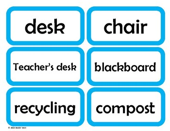 Labels for the English / ESL Classroom (Light Blue)
