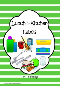 Labels for the Lunch and Kitchen Area Green