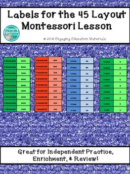 Labels for the Montessori 45 Layout