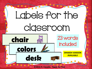 Labels for the classroom Classroom Decor