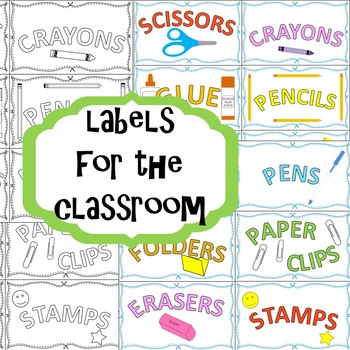 Labels for the classroom in color & B&W