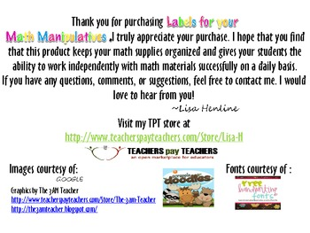 Labels for your Math Manipulatives *Bright Edition*