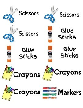 Labels for your classroom supplies- Large shipping label size