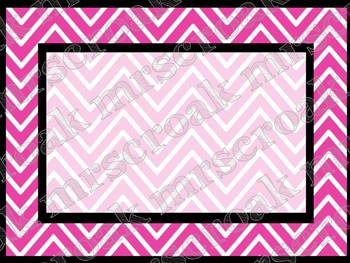 Labels: hot pink with black Chevron, 10 per page