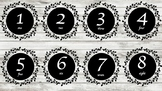 Labels- numbers, colours, letters, shapes, blank; blackboa