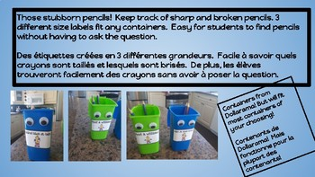 Labels sharp-broken pencils (English and French versions)