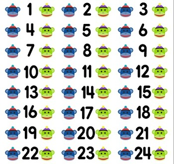 Labels with numbers 1-30 and cute pictures- assign your students each a number!