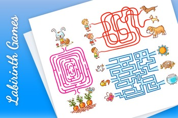 Labirinth Games Set for Preschoolers: Find the Way or Match Elements