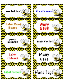 Labels Cute Bumble Bee 10 per page 8 different designs Chevron Polka Dot Stripes