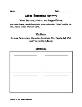 """""""Laboo"""" a review game for biology (Virus, Bacteria, Protist, Fungus)"""