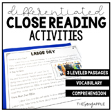 Labor Day Close Reading Comprehension Passages Writing Activities Nonfiction