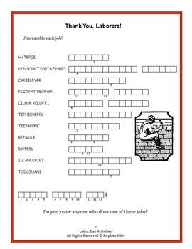 Labor Day Activities! Grades 3-4