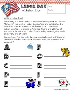 Labor Day Activity: Alphabet Jobs