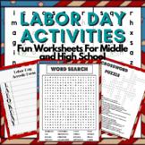 Labor Day Activity: Crossword