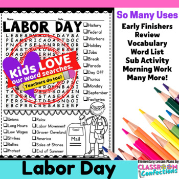 Labor Day Activity: Labor Day Word Search