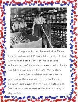 Labor Day ~ Grades 3-5 ~ Informational Reading,  Common Core