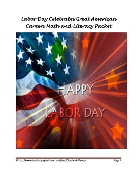 Labor Day Celebrates Great American Careers Math and Literacy Center Packet