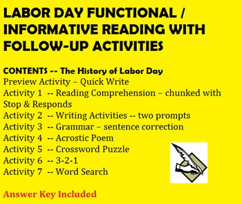 Labor Day Chunked Informational / Functional Reading with Follow-up Activities -