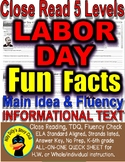 Labor Day Close Reading Differentiated Leveled Passages w/