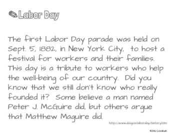 Labor Day Coloring Page by Addition Fact Strategy